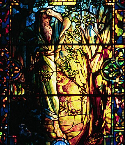 Moses and the Burning Bush Tiffany Stained Glass Window
