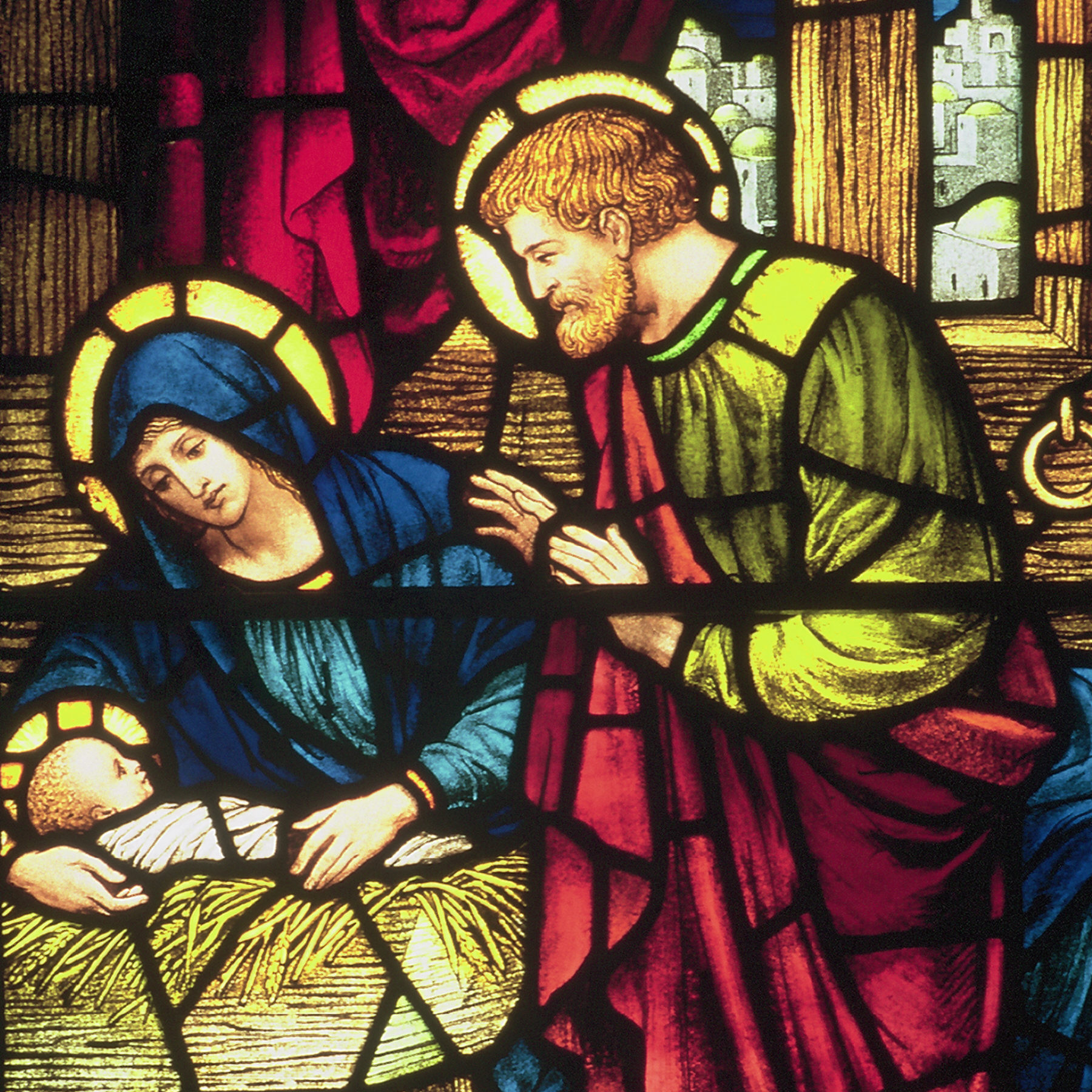 The Nativity in stained glass